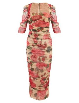 Rose Print Ruched Tulle Midi Dress by Dolce & Gabbana
