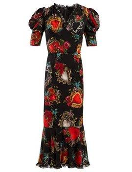Secret Hearts Print Crepe Dress by Dolce & Gabbana