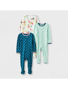 Baby Girls' 3pk Floral/Stripe/Dot Zip Sleep 'n Play   Cloud Island™ Green/Pink by Cloud Island