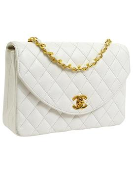 Classic Cc Logo Single Flap Quilted White Leather Cross Body Bag by Chanel