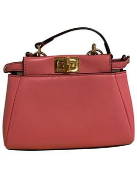Micro Peekaboo Napa Pink Lambskin Leather Cross Body Bag by Fendi