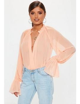 Pink Balloon Sleeve Bodysuit by Missguided