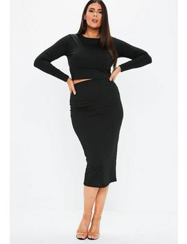 Plus Size Black Ribbed Top And Midi Skirt Co Ord Set by Missguided