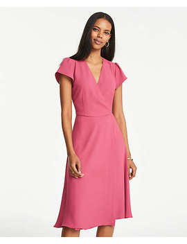 Flutter Sleeve Wrap Flare Dress by Ann Taylor