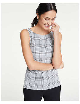 Plaid Knit Shell by Ann Taylor