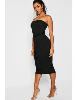 Ribbed Bandeau Belted Midaxi Dress by Boohoo