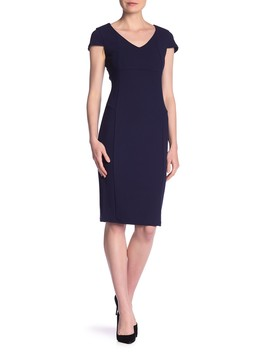 V Neck Short Sleeve Solid Dress by Bebe