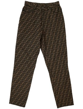 Brown Zucca Pattern Straight Leg Jeans by Fendi
