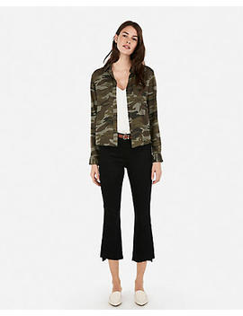 Twill Camo Pocket Button Up Top by Express