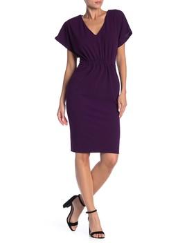 V Neck Short Sleeve Solid Dress by Superfoxx