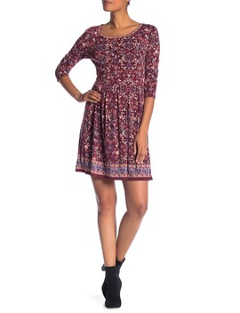 3/4 Sleeve Fit & Flare Dress by Max Studio