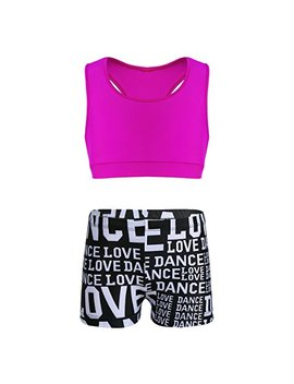 M Semis Girls' Kids 2 Piece Sport Dance Outfit Crop Top With Booty Shorts Gymnastics Leotard Dancing Swimwear by M Semis