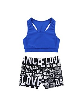 M Semis Girls' Kids 2 Piece Active Set Dance Sport Outfits Racer Back Top And Booty Short Gymnastics Dancing Clothes by M Semis