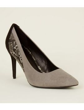 Black Suedette Faux Snake Panel Courts by New Look