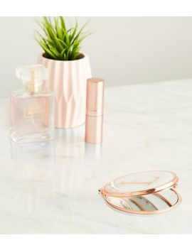 Rose Gold Marble Effect L Initial Compact Mirror by New Look