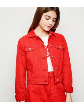Girls Red Denim Jacket by New Look