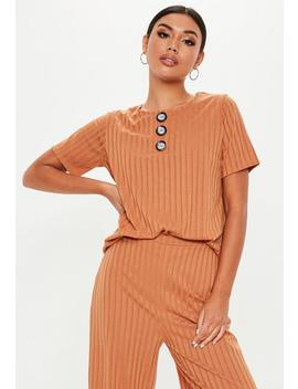 Rust Co Ord Rib Button Front T Shirt by Missguided