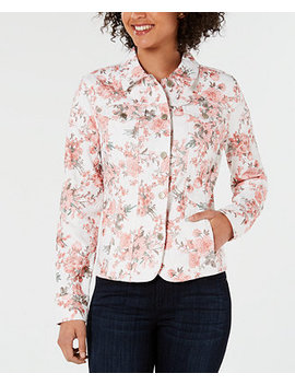 Floral Print Button Up Jacket, Created For Macy's by Charter Club