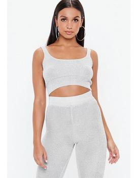 Silver Co Ord Metallic Knitted Crop Top by Missguided