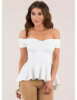 Perfect In Peplum Off Shoulder Top by Go Jane
