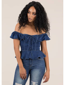 Chambray Chic Off Shoulder Peplum Top by Go Jane
