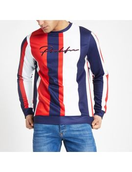 Red 'Prolific' Stripe Slim Fit Sweatshirt by River Island