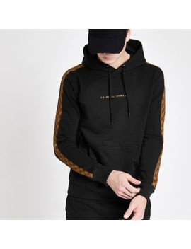 Criminal Damage Black Check Panel Hoodie by River Island