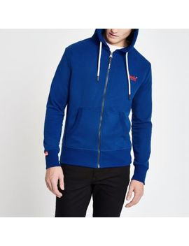 Superdry Blue Zip Hoodie by River Island