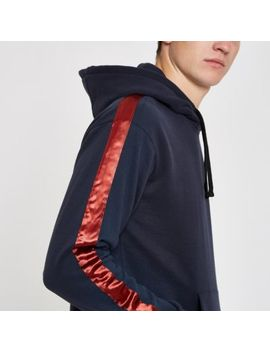 Jack & Jones Blue Satin Tape Hoodie by River Island