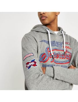 Superdry Grey Logo Print Hoodie by River Island