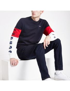 Schott Navy Block Sweatshirt by River Island