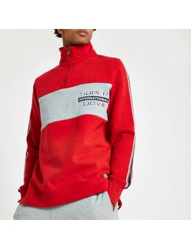 Superdry Red Zip Funnel Neck Sweatshirt by River Island