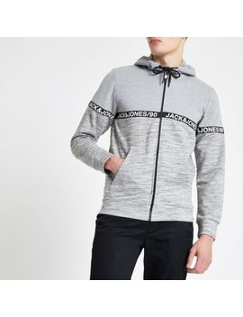 Jack & Jones Grey Zip Front Hoodie by River Island