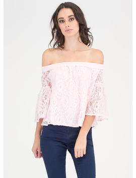 Que Bell A Floral Lace Off Shoulder Top by Go Jane