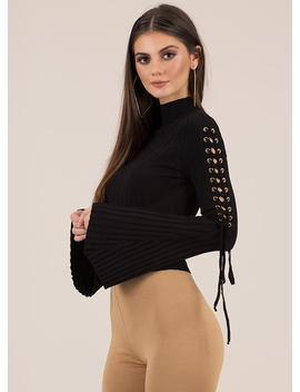 To Tie For Ribbed Bell Sleeve Crop Top by Go Jane