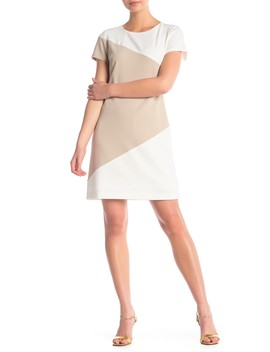 Short Sleeve Colorblock Scuba Crepe Dress by Iconic American Designer