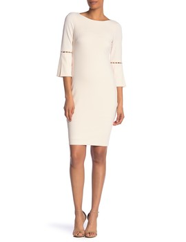 Solid Crepe Pearl Accent Sheath Dress by Modern American Designer