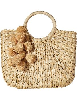 hat-attack-womens-small-round-handle-tote-with-poms by hat-attack