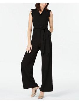 Sleeveless Ruffled Wide Leg Jumpsuit by Calvin Klein