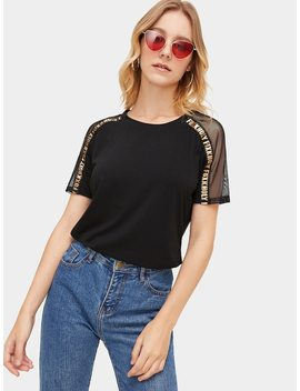 Fishnet And Letter Tape Panel Tee by Romwe