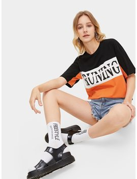 Color Block Letter Print Tee by Romwe