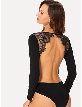 Lace Panel Backless Bodysuit by Romwe