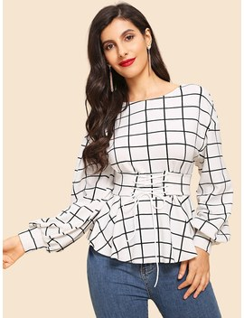 Corset Lace Up Plaid Top by Romwe