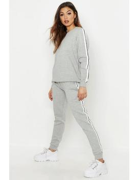 Stripe Sweater & Jogger Tracksuit by Boohoo