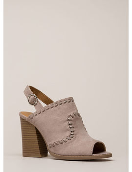 Day Off Stitched Peep Toe Block Heels by Go Jane