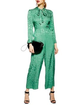 Tie Neck Jacquard Crop Jumpsuit by Topshop