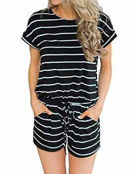 Artfish Women's Summer Striped Jumpsuit Casual Loose Short Sleeve Jumpsuit Rompers by Artfish