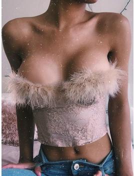 Pink Bandeau Fur Trim Women Lace Crop Top by Choies