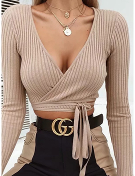Khaki Ribbed V Neck Tie Detail Long Sleeve Chic Women Crop Top by Choies