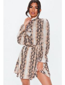 Brown Snake Print High Neck Smock Dress by Missguided